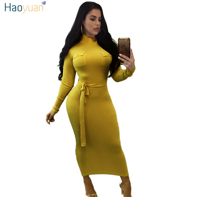 8e6c1887c86 US $16.95 15% OFF|HAOYUAN Knitted Sweater Dress Women Long Sleeve Autumn  Winter Dresses Black Yellow Vestidos Casual Sexy Slim Bodycon Maxi Dress-in  ...