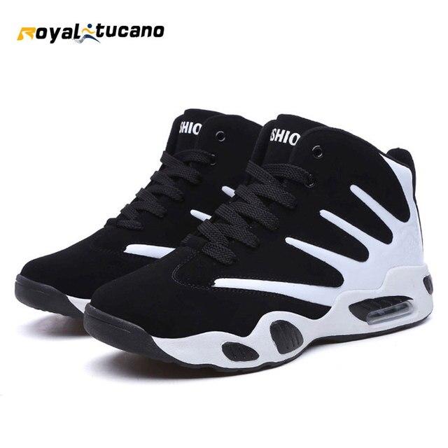 ROYALTUCA 2017 Baru pria Sepatu Basket Hitam Putih Mens Olahraga Basket  Sepatu Lace Up Asli Sepatu 51abe5de42