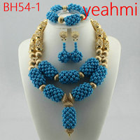 African Beads Jewelry Set for Women Fashion Silver/Gold Jewelry Accessory Nigerian Wedding Beads Set Necklace Set BH54 2