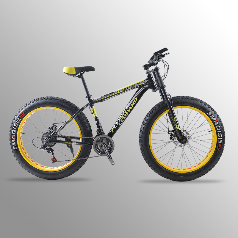 Mountain Bike bicicletta 24 velocità telaio In lega di Alluminio 26x4.0 grasso Scarponi Da Neve della bici della bicicletta della bici Anteriore e Posteriore Meccanico disco Brade di Sesso Maschile