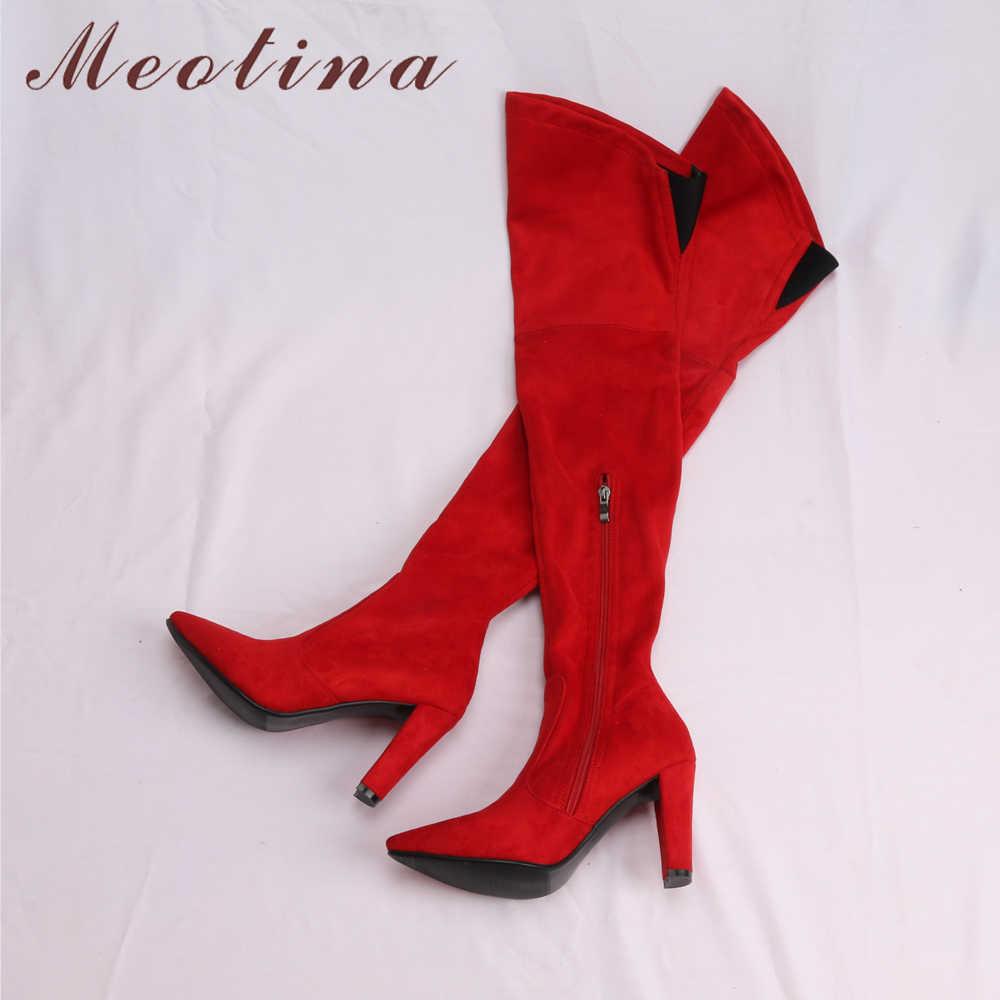 Meotina/зимние сапоги до бедра Для женщин Ботфорты Туфли из флока на высоком каблуке пикантные острый носок Женская 2018 новый большой Размеры 34–43