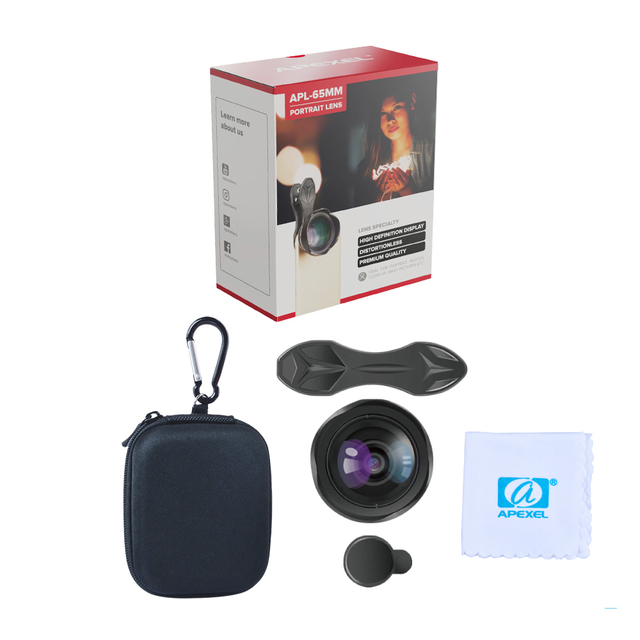 APEXEL Universal 3x telephoto Zoom Phone Lens Tele Camera Lens Kit 65MM lens For iPhone 7 8 Plus Samsung Mobile Phones APL-65MM 5