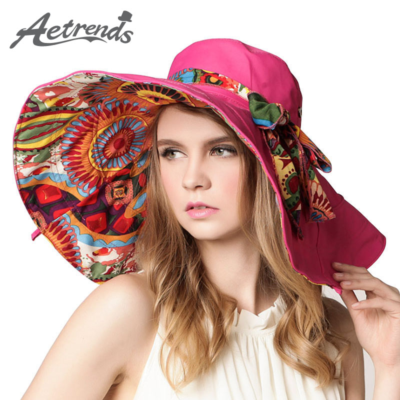AETRENDS 2017 Fashion Design Flower Foldable Brimmed Sun font b Hat b font Summer font