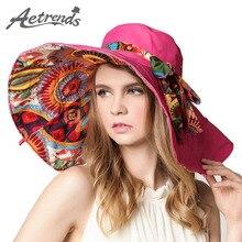 [AETRENDS] 2017 Мода Дизайн Цветок Складная Широкими Полями Вс Шляпа Летние Шляпы для Женщин УФ-Защитой Z-2657