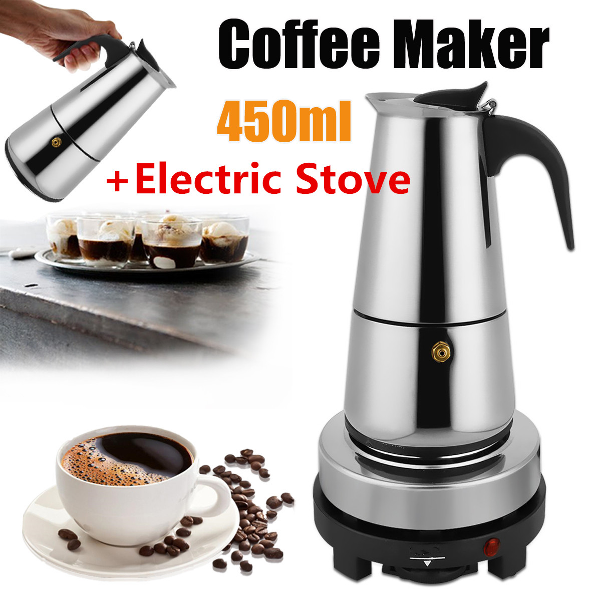 9 Cups Stainless Steel Moka 450ml Mocha Espresso Latte Stovetop Filter Coffee Maker Pot Percolator w/Electric Stove Ourdoor Home stainless steel coffee pot moka coffee maker teapot mocha stovetop tool filter percolator cafetiere percolator tool