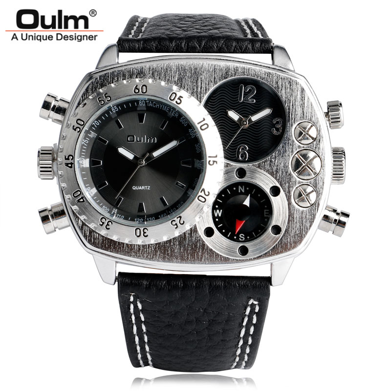 OULM Luxury Brand Military Watches Men Deco Compass Special Two Time Zone Clock Man Sports Army Quartz Watch Relogios Masculino thermometer watch compass watch two time zone display dual movt quartz watch for men oulm 1349
