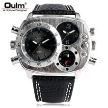 Oulm marque de luxe militaire montres hommes déco boussole spécial deux fuseau horaire horloge homme sport armée montre à quartz relogios masculino
