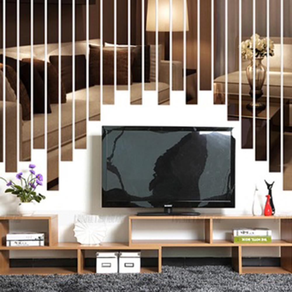 Funlifetm 10pcs long rectangle bar mirror wall stickerremovable funlifetm 10pcs long rectangle bar mirror wall stickerremovable home decormodern acrylic wall border decal tv background in wall stickers from home amipublicfo Image collections