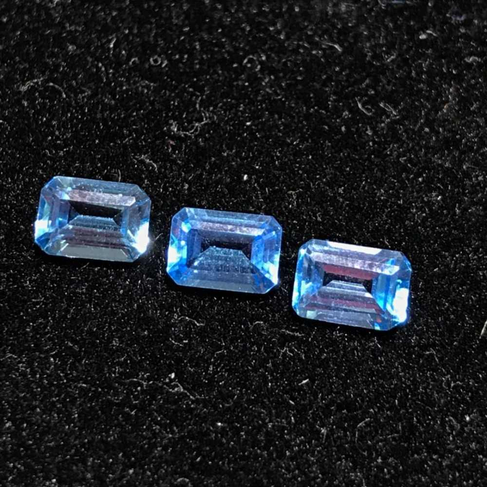 VVS 5 mm * 7mm emerald cut topaz gemstone real natural light blue topaz loose stone for jewelry shop