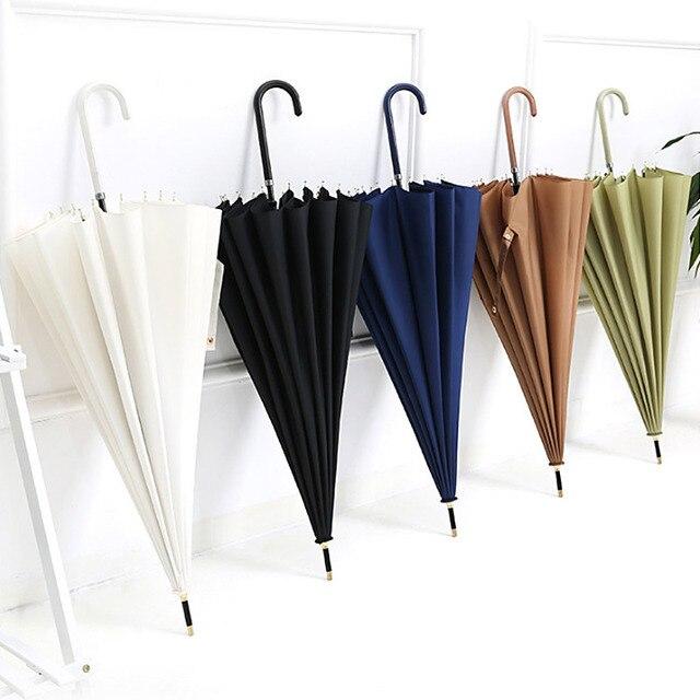 Yesello сплошной цвет зонтик мужской сильный Ветрозащитный полуавтоматический длинный зонтик кожаная ручка большие женские деловые Зонты