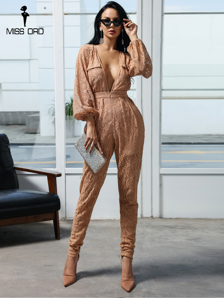 MISSORD 2020  Sexy Long Sleeve BELLE JUMPSUIT FRONGT Button NUDE LACE Stitching Jumpsuit Loose Pocket Playsuits Rompers  FT18433