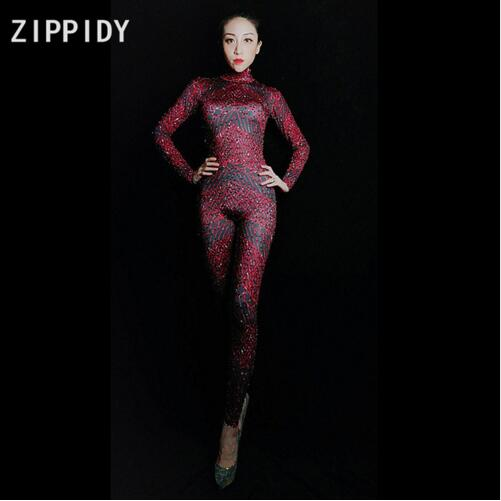 Fashion Shining Red Rhinestones Spandex Jumpsuit Women's Birthday Party Celebrate Outfit Nightclub Women Singer Show Dancer Top Watermelons