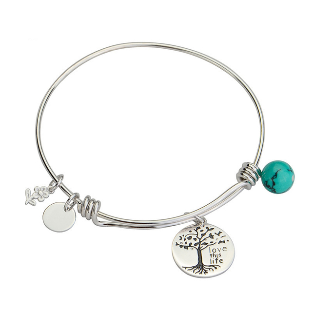 Trendy 925 Sterling Silver Turquoise Flower Love Life Adjustable Bracelet / Baby