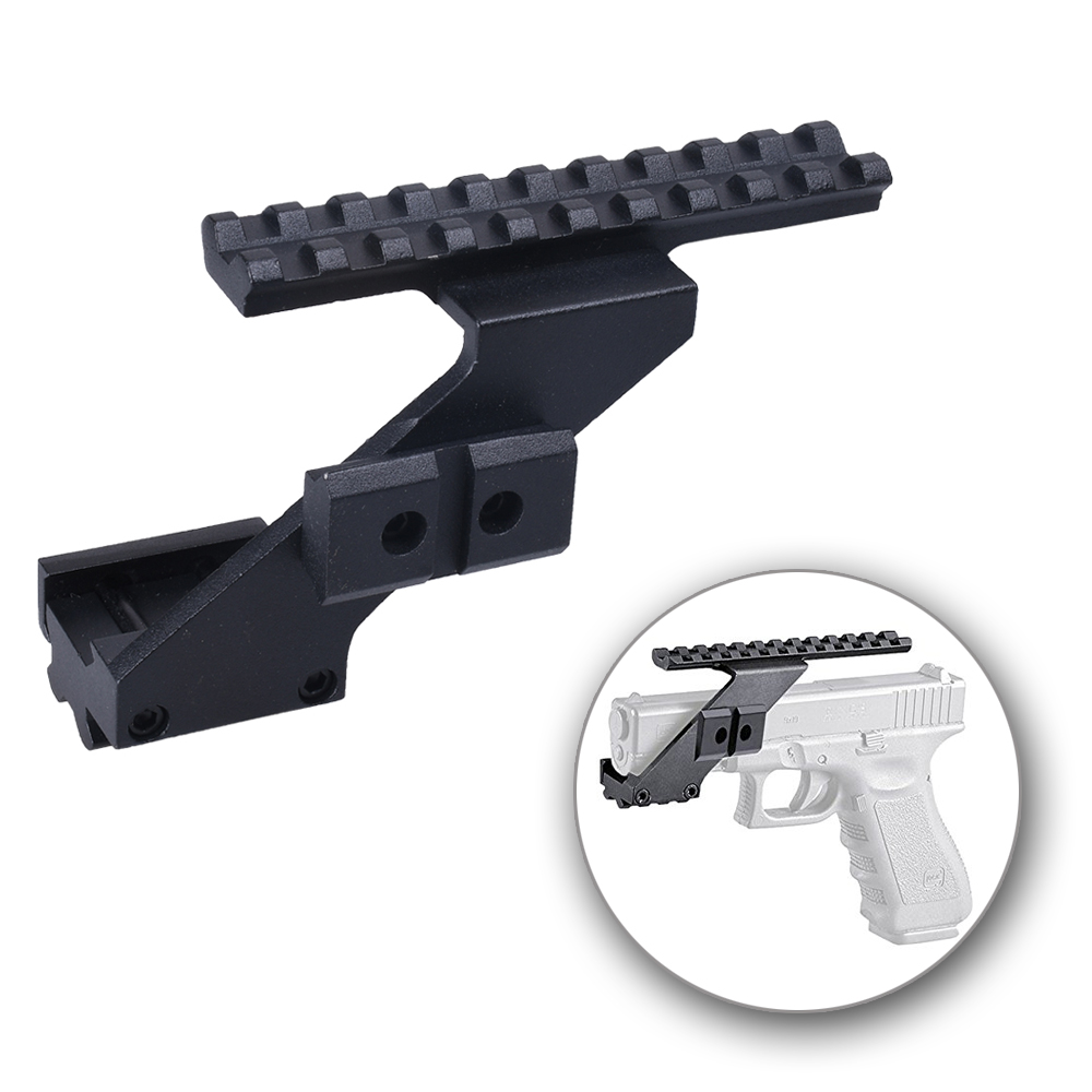 Pistol Scope Rail Mount Weaver Picatinny Top & Bottom Rail Scope Mount Aluminum For Sights Lights Fits Glock