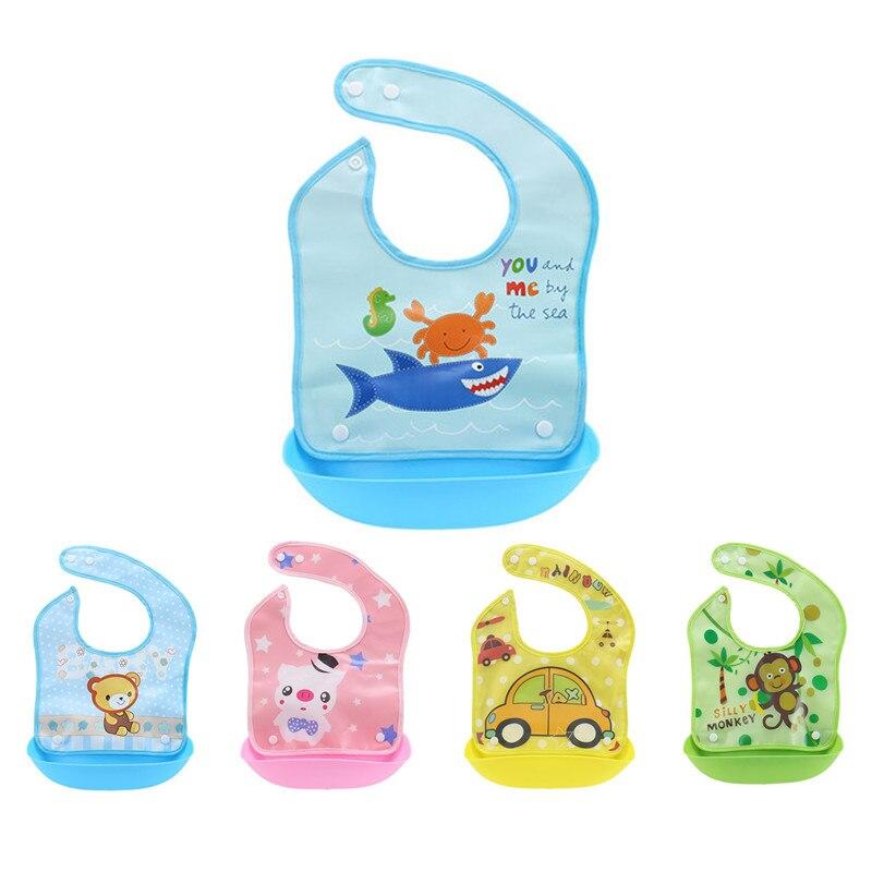 New baby bibs waterproof silicone apron rice pocket Bib baby print feed bag eating wear QD47 foodie babies wear bibs