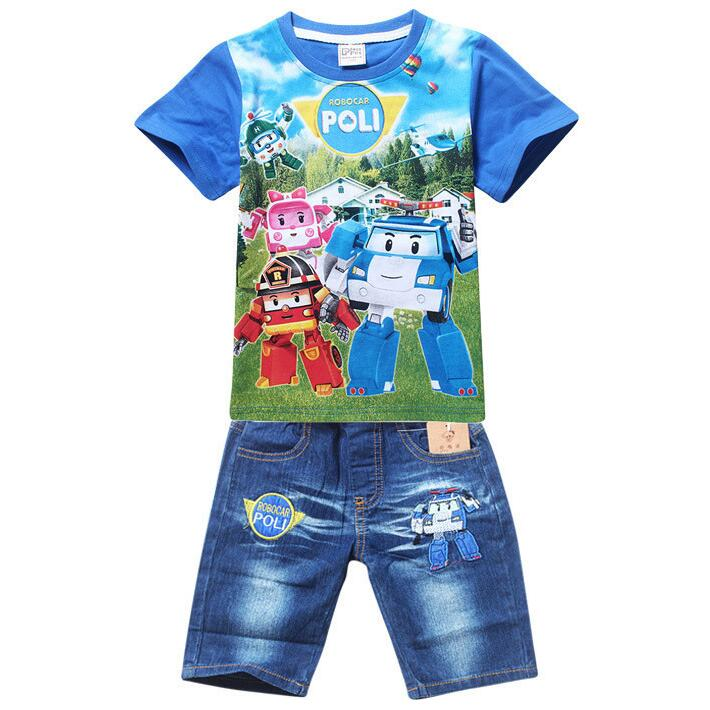 New Boys Minions Clothing Sets Children Summer Cotton Short Shirt + Jeans  2 Piece Suit Kids Clothes Set