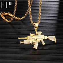 цена на Hip Hop Iced Out Bling Gun Rhinestone Rope Chain Gold Color Pendants & Necklaces For Men Jewelry Dropshipping