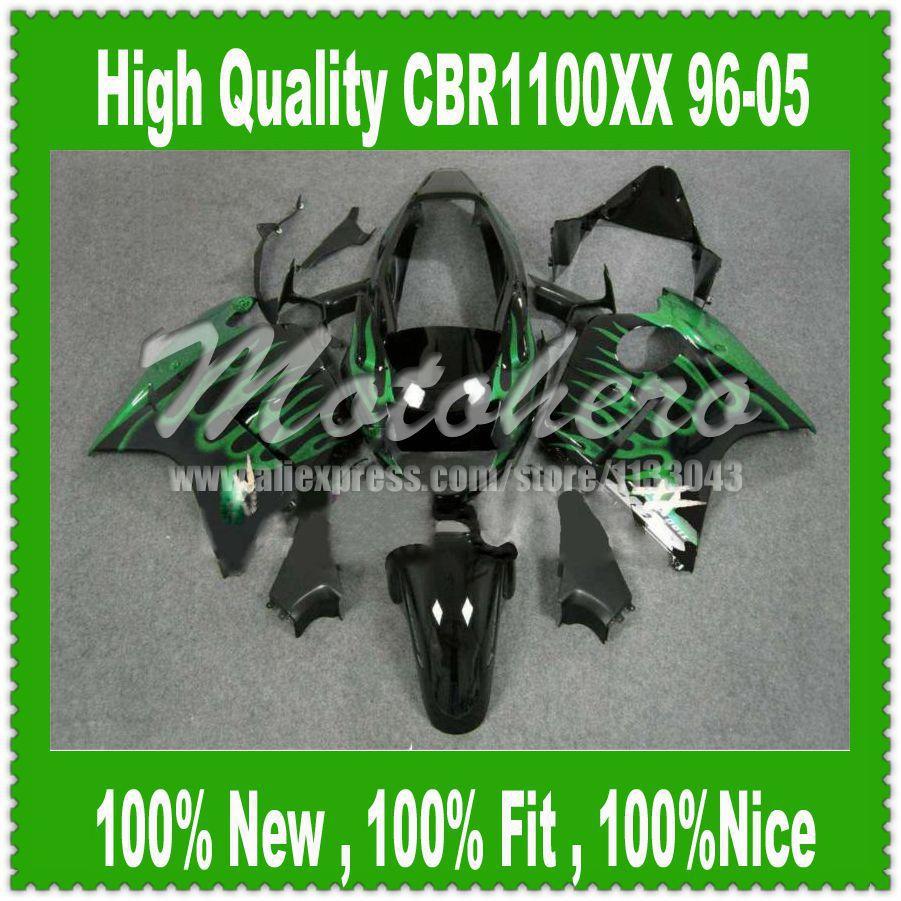 Fairing kit Green Flame for Honda CBR1100XX 96-05 CBR1100 XX 96 05 1996 2005 CBR 1100XX 96 05 CBR 1100 XX 96 05