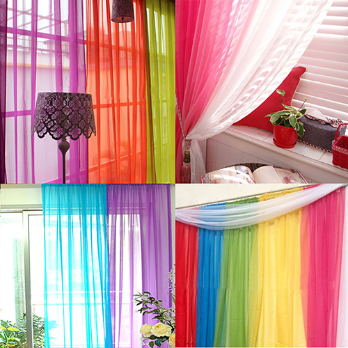 Lightweight Gauzy Valances Door Window Curtain Drape Sheer Home Wedding Decor