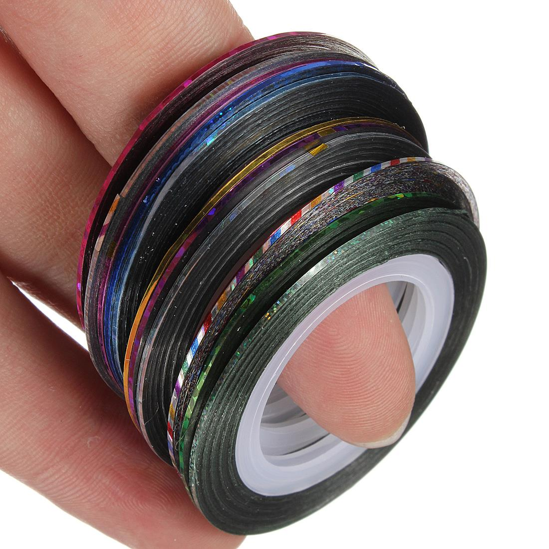 Striping Tape Line Nail Art: Aliexpress.com : Buy Fashion 12rolls/pack Multicolor Nails