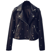 Studded Jacket Leather Woman pvc Coat Womens Black Leather Jacket Star Rivet Leather Jacket for Women Name Brand Overcoats B452