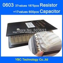 O envio gratuito de 0603 smd amostra book 37 valores 1875 pçs kit resistor e 17 valores 600pcs conjunto capacitor