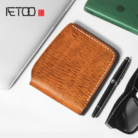 AETOO Pure handmade wallet men's leather short retro simple Youth money clip Japanese personality horizontal Head cowhide Wallet