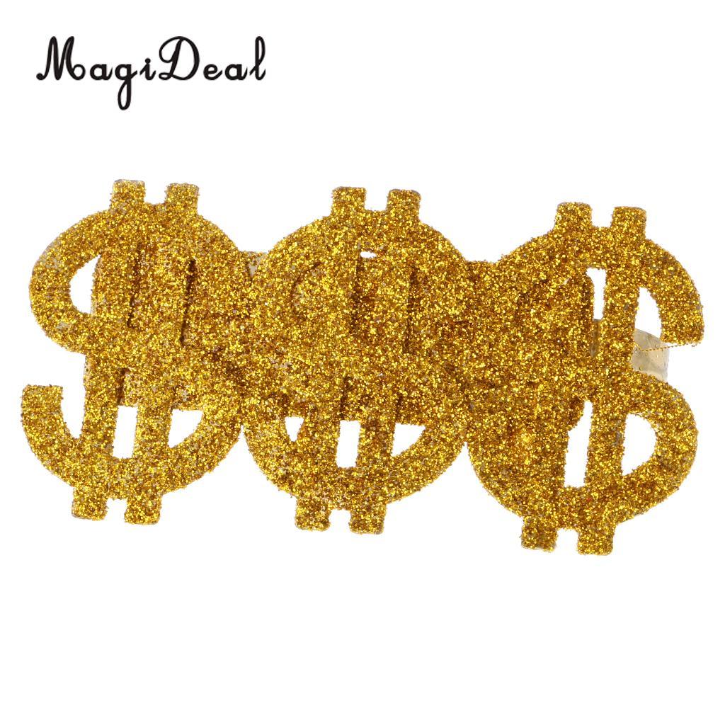 Glitter Dollar Costume 70s 80s Rapper Big Daddy Party Eyewear Fancy Dress Up