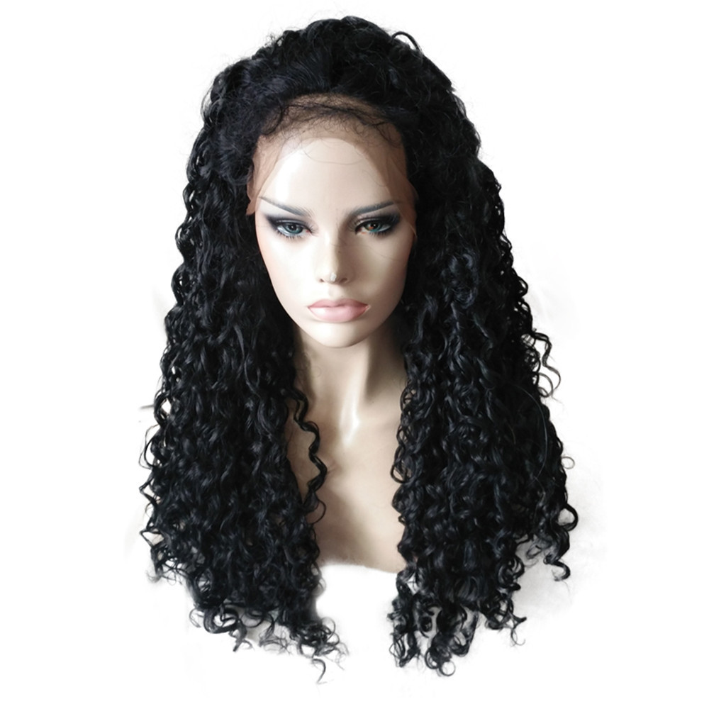2018 Fashion Black Long Curly Lace Front Full Wig Brazilian Human Hair Wave Wig 0824 fashion woman s wig long body wave lace front synthetic hair black color heat resistant page 8
