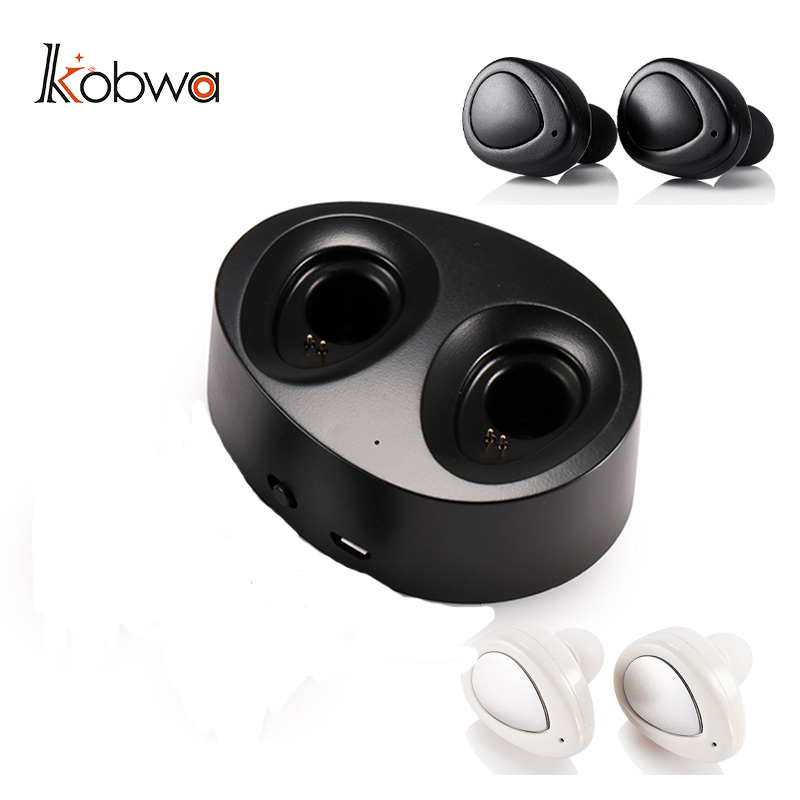 KOBWA Wireless Bluetooth 4.1 Earphone Stereo Mini Earbuds Portable Handsfree Headset With Charging Station Dock Box For Apple 2 mini stereo car bluetooth headset wireless earphone bluetooth handsfree car kit with 2 usb base charging dock