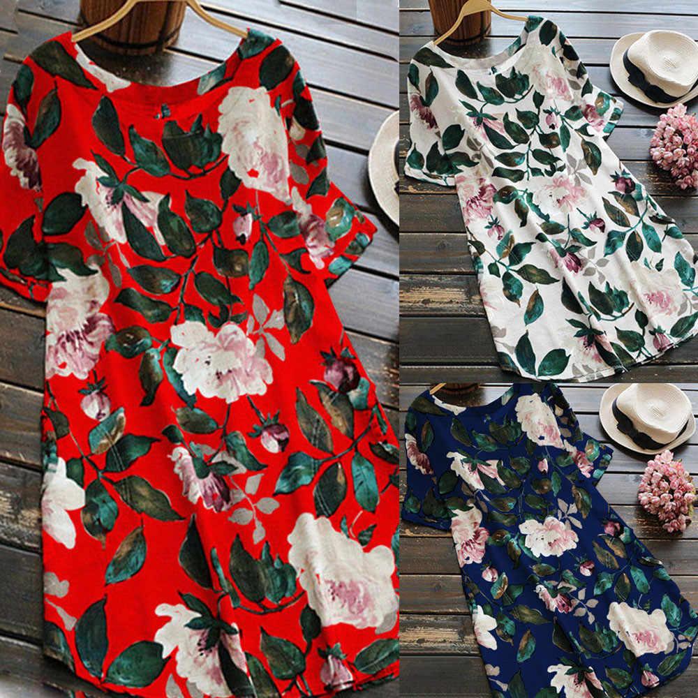 Mulheres Senhora Da Cópia Floral Mini Vestido Das Mulheres Do Partido Vestido Da Menina de Verão de Manga Curta Vestido de Praia Plus Size 2019