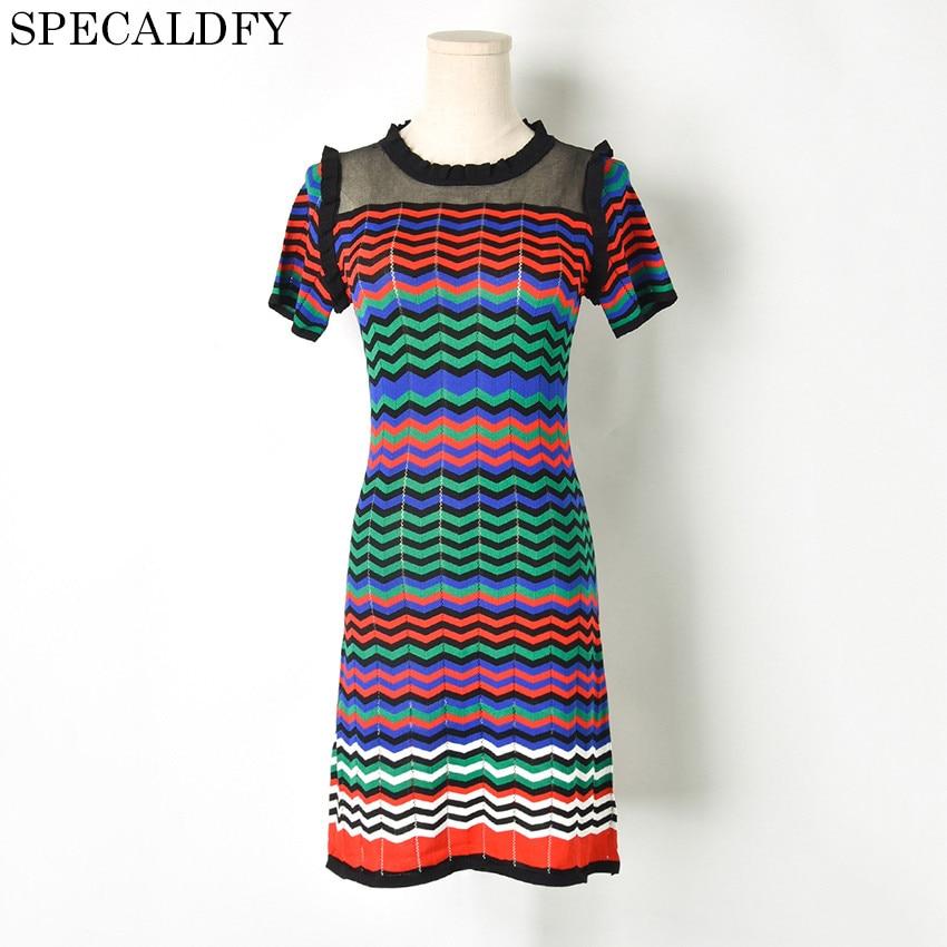 Rainbow Striped Sweater Dress Women Short Sleeve Ruffle Knitted Sheath Dress Runway Designer Dresses 2018 High Quality Vestidos