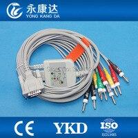 Compatible Schiller EKG cable with 10 leadwires , ECG patient cable Banana4.0 IEC,10 k ohm Resistance