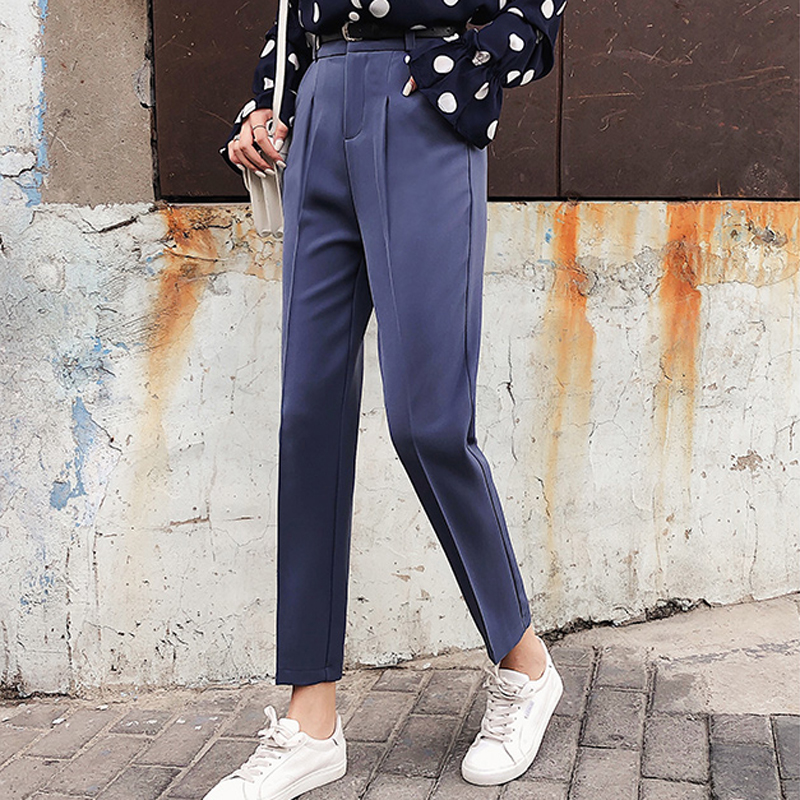 Image 2 - BGTEEVER OL Style White Women Pants Casual Sashes Pencil Pant High Waist Elegant Work Trousers Female Casual pantalon femme 2018