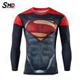 2016 new Marvel 3D T Shirt Men Batman Superman Captain America Superhero Long Sleeve Amour Compression Fitness  S-XXXXL
