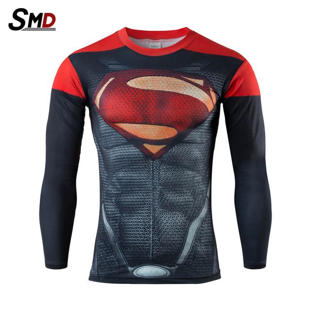 2016 novo Marvel T Shirt Dos Homens 3D Batman Superman Capitão América Superhero Manga Longa De Fitness Compressão Amour S-XXXXL