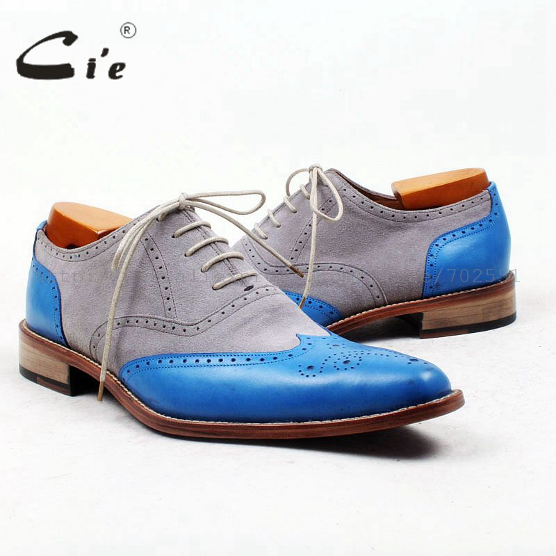 cie pointed full brogues grey suede blue soft leather high quality bespoke  leather men shoe handmade 0d747480cc2f