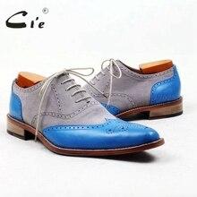 Cie указал полные башмаки серый замши голубой мягкой кожи высокого качества на заказ мужская кожаная обувь ручной работы мужская оксфорд обуви OX445