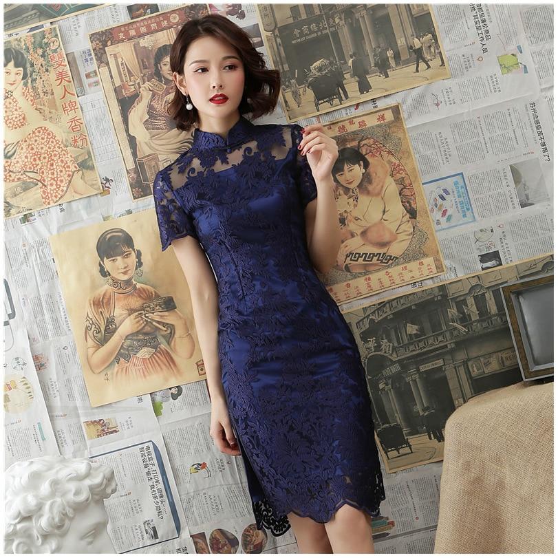 New Lace Chinese Traditional Style Cheongsam Elegant Women' S Handmade Button Dress  Mandarin Collar Sexy Short Dress Size S-XXL