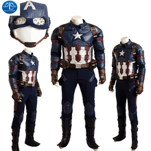 Hot Superhero Movie Cosplay Captain America 3 Civil War Captain America Cosplay Costume Full Suit  Customize Halloween