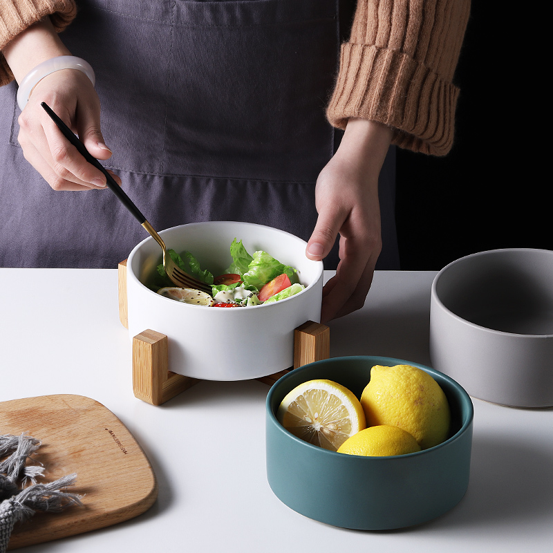 Oneisall Ceramic Salad Bowl Nordic style Matte Glazed Ceramic Bamboo Dish Rack Simple Solid Color Soup Salad Rice Fruit Bowl in Dishes Plates from Home Garden