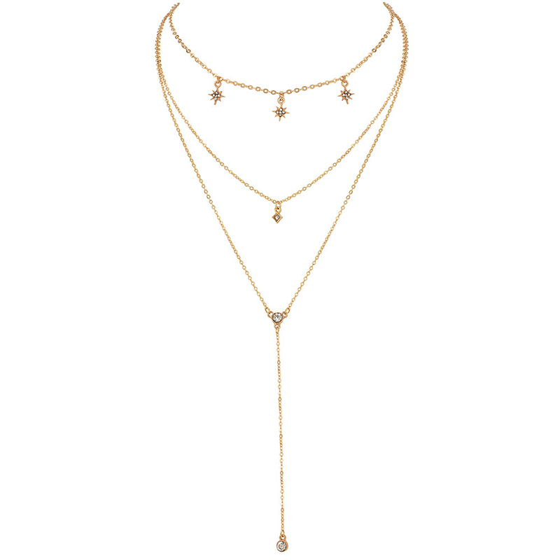 3Pcs/Set Bohemian Star Sun Square Crystal Chain Pendant Multilayer Necklace Women Fashion Gold Necklace Set Jewelry Gift