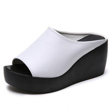 Sandals and slippers women wear new fashion wild thick platform wedge high heel outdoor summer fish mouth shoes Slides стоимость