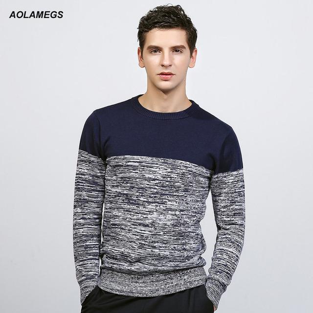 Aolamegs hombres suéter de color hit de la moda de punto jerseys 2017 primavera clásico de los nuevos hombres ocasionales adelgazan tejer sweter hombre