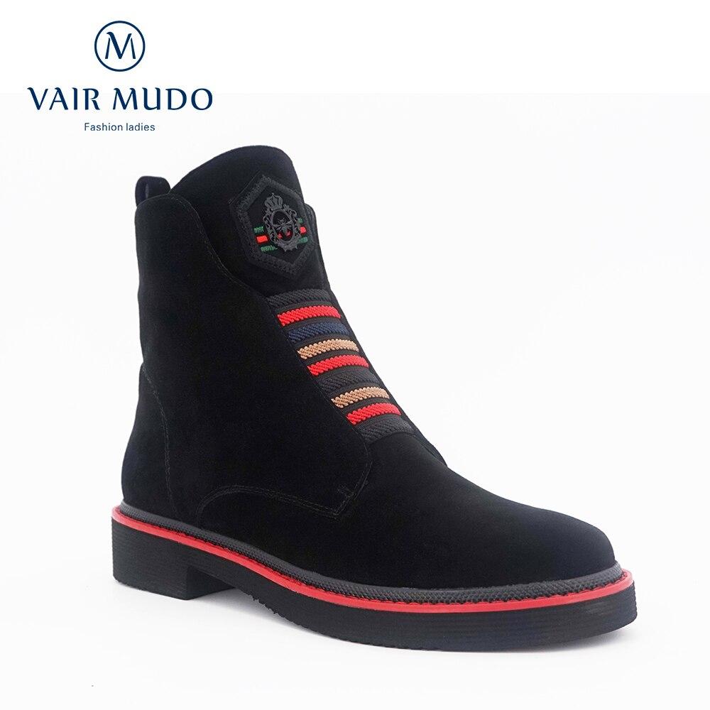 Vair mudo lã de pele inverno quente ankle boot sapatos femininos couro genuíno qualidade superior primavera outono quadrado salto baixo senhora botas dx1