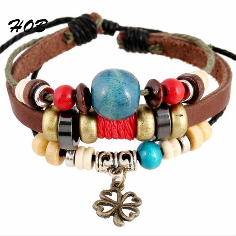Brown Genuine Leather Gold Lucky Leaf Charm Bracelets For Women Men Adjustable Braided Wristband Cuff Male Female Jewelry X7