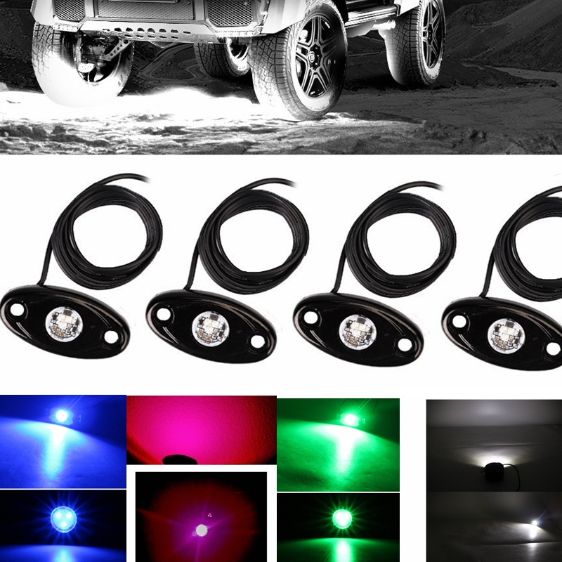 Red 4PCS LED Rock Light Kits with 4 pods Lights for JEEP ATV SUV Truck Car Under Body Glow Light Lamp Trail Fender Lighting