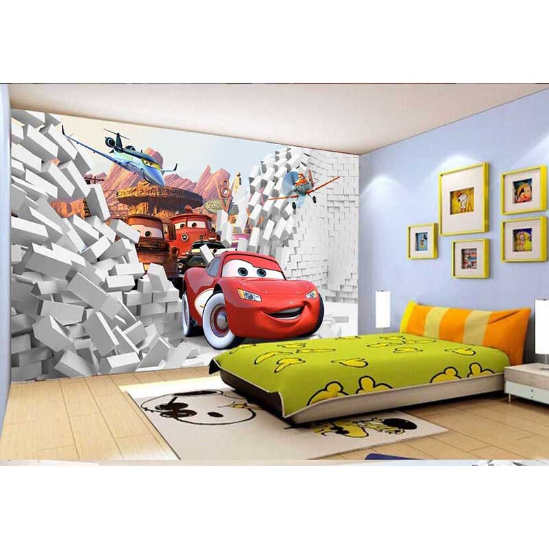 2016 hd 3d non woven fabric cartoon cars wall mural for Child mural wallpaper