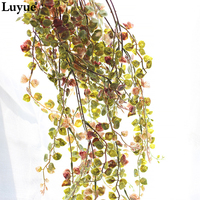 Luyue 60cm Artificial Wall Hanging Long Vine Leaves Wedding Decor Real Vivid Simulation Fake Plant Flowers Rattan Home Decor