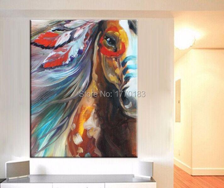 Célèbre Le cheval de guerre de indienne, Peint à la main abstraite cheval  HY12